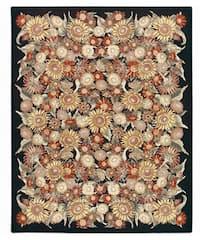 Nourison Hand-hooked Bijoux Black Wool Runner (2'6 x 8')