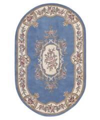 Nourison Hand-tufted Aubusson Garden Blue Wool Rug (8' x 8) Oval