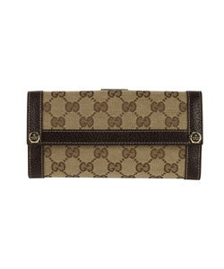 bc769e9940f212 Shop Gucci Fabric Logo Jacquard Continental Wallet - Free Shipping ...