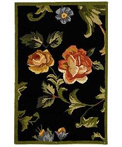 Safavieh Hand-hooked Garden of Eden Black Wool Rug (1'8 x 2'6)