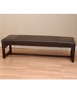 Shop Woven Leather Bench Dark Brown Free Shipping Today
