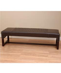 Astonishing Woven Leather Bench Dark Brown Overstock Com Shopping The Best Deals On Benches Machost Co Dining Chair Design Ideas Machostcouk