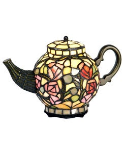 Thumbnail 1, Tiffany-style Floral Teapot Light.