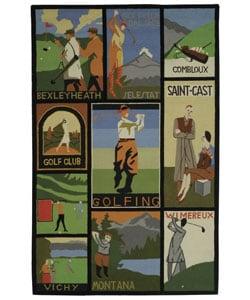 Safavieh Handmade Vintage Golf Poster Wool Rug - Green - 5'3 x 8'3 - Thumbnail 0