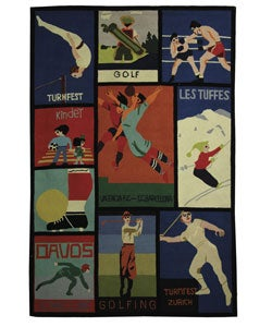 Safavieh Handmade Vintage Sports Poster Wool Rug - Assorted - 6' x 9' - Thumbnail 0