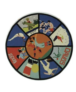 Safavieh Handmade Vintage Sports Poster Wool Rug - 5' x 5' round - Thumbnail 0