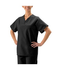 Medline Unisex Reversible Black Scrub Top
