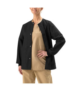 Medline Unisex Two-pocket Black Warm-up Jacket