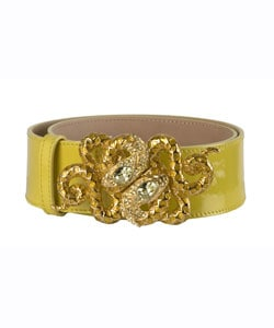 Roberto Cavalli Yellow Patent Leather Snake Belts - Thumbnail 0