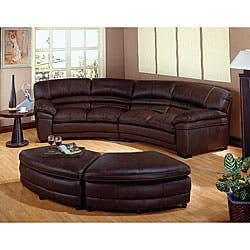 Phenomenal Chocolate Brown Leather Sectional Sofa With 2 Storage Ottomans Overstock Com Shopping The Best Deals On Sectional Sofas Spiritservingveterans Wood Chair Design Ideas Spiritservingveteransorg