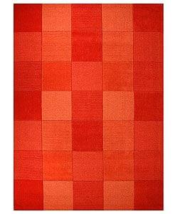 Thumbnail 1, Hand-tufted Terra Tile Orange Wool Rug (5' x 8').