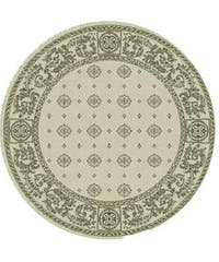 "Safavieh Beaches Natural/ Black Indoor/ Outdoor Rug - 6'7"" x 6'7"" round"