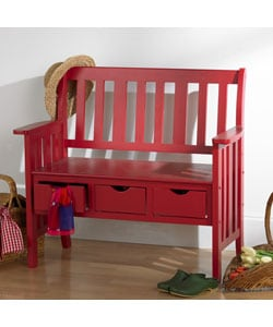 Shop Country Red 3 Drawer Bench Free Shipping Today