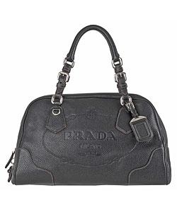 Thumbnail 1, Prada Black Leather Embossed Logo Satchel.