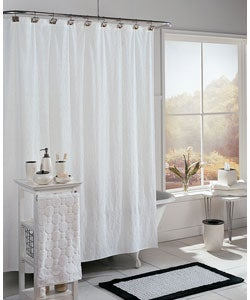 Disc Cotton Terry Shower Curtain With Hook Set