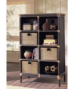 Black Rattan Bookcase 3 Storage Baskets Free Shipping Today