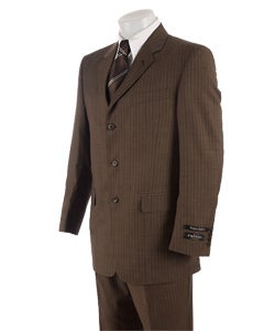 Calvin America Men's Brown Suit with Blue Pinstripes - Free ...