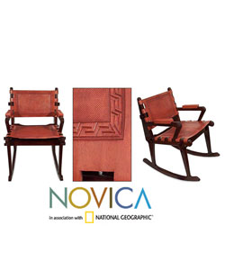Cedar and Leather Contemporary Rocking Chair (Peru) - Thumbnail 0