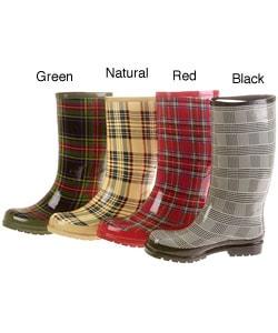 On Your Feet Satra Women's Plaid Print Rain Boots - Thumbnail 0