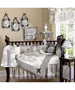 French Toile Black & Cream 10-piece Crib Set