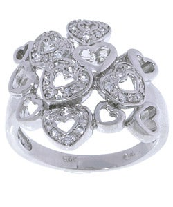 Sterling Silver Multiple Hearts Cubic Zirconia Ring - Thumbnail 0