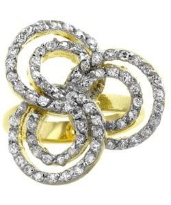 Kate Bissett Goldtone Swirls CZ Flower Cocktail Ring