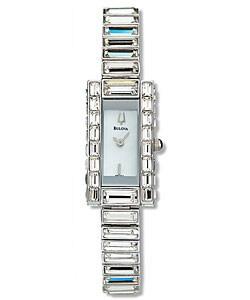 Bulova Women's White Dial Crystal Watch
