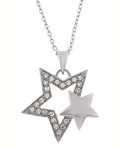 Sterling Essentials Sterling Silver Star-Shaped Cubic Zirconia Necklac