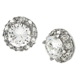 Journee Sterling Silver Round CZ Pave Style Earrings