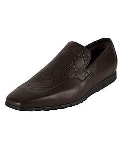 Gucci Men's Leather Loafers with Guccissima Panel - Thumbnail 0