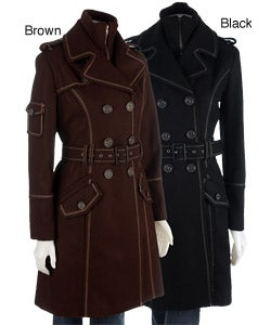 Thumbnail 1, Justsweet Women's Belted Trench Coat with Knit Bib.