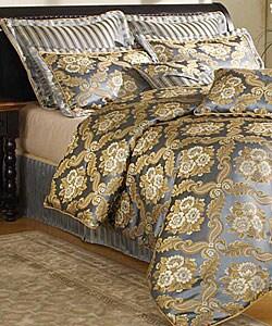 shop forte blue gold 9 piece comforter set free shipping today overstock 2560037. Black Bedroom Furniture Sets. Home Design Ideas