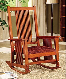 Mission Spindle Cranberry Chenille Rocking Chair - Free Shipping Today ...