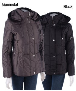 Shop Anne Klein Down Coat With Knit Trim Free Shipping
