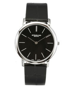 Stuhrling Original 'Ascot' Men's Black Thin Elegant Watch