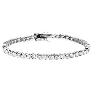 "Simon Frank Designs 4 5/8ct TGW Classic ""S"" Bar Tennis CZ Bracelet (Option: White)
