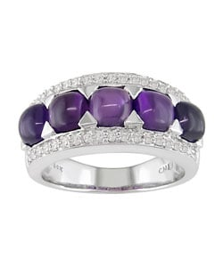 14k Gold Cabochon Amethyst 1/4ct TDW Diamond Ring