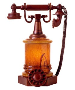 Tiffany-Style Amber Accent Telephone Lamp