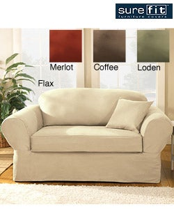 Shop Sure Fit 2 Piece Supreme Twill Loveseat Slipcover