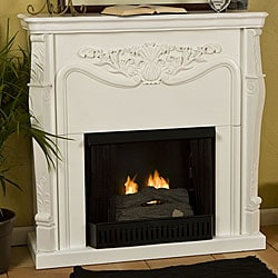 Vienna Antique White Gel Fuel Fireplace Free Shipping