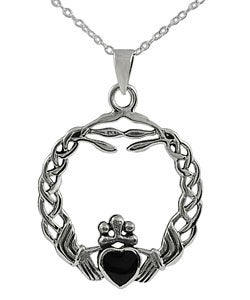 Journee Sterling Silver Onyx Braided Claddagh Pendant
