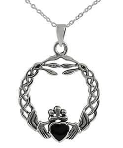 Journee Sterling Silver Onyx Braided Claddagh Pendant|https://ak1.ostkcdn.com/images/products/P10850747.jpg?impolicy=medium