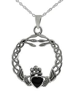 Journee Sterling Silver Onyx Braided Claddagh Pendant