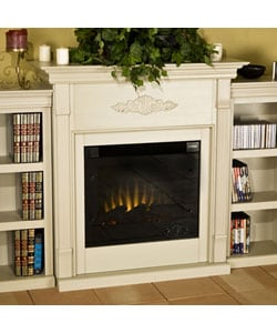 Dublin Antique White Bookcase Electric Fireplace