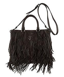 Thumbnail 1, Prada Dark Brown Nappa Leather Fringe Bag.