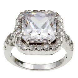 Sterling Essentials Sterling Silver Fancy Square Cut CZ Ring