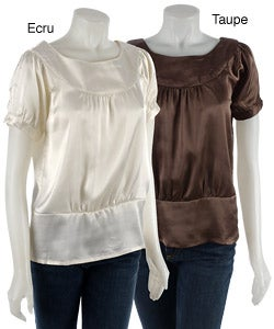 Thumbnail 1, Coupe Short-sleeve Satin Blouse with Boat Neck.