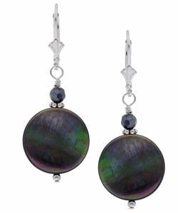 Charming Life Sterling Silver Black Mother of Pearl Earrings