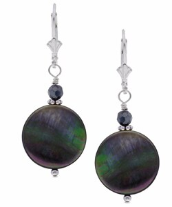 Lola's Jewelry Sterling Silver Black Mother of Pearl Earrings