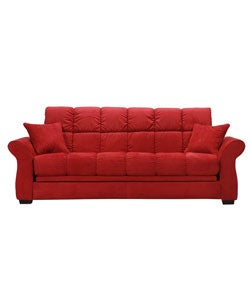 Hollywood jazz crimson red futon sofa bed free shipping for Sofa bed overstock